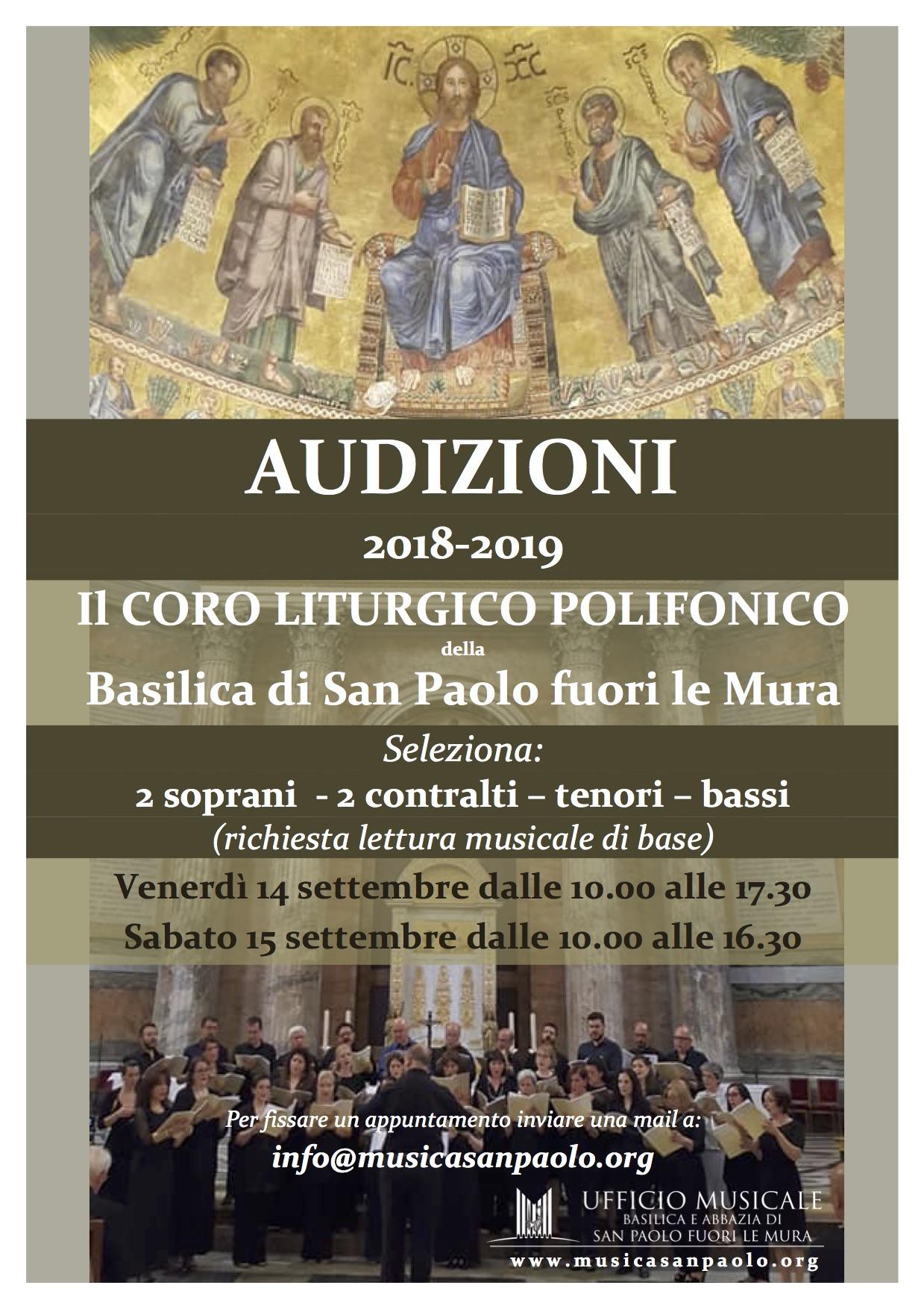 Audizioni Coro Liturgico Polifonico 2018/19
